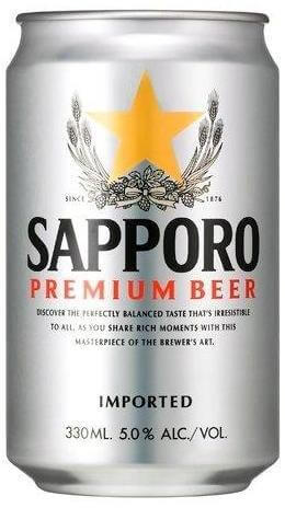 Sapporo Premium Draft Beer Can 330ml